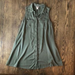 Mossimo army green button up collared dress